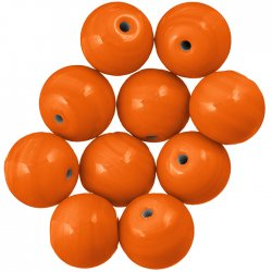 Shiny Orange Handmade Round Plain Glass Beads 14mm PK10