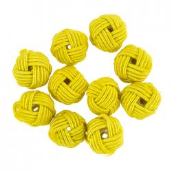 Woven Yellow Knotted Round Fabric Beads 10mm (PK10)