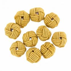 Woven Light Brown Knotted Round Fabric Beads 10mm PK10