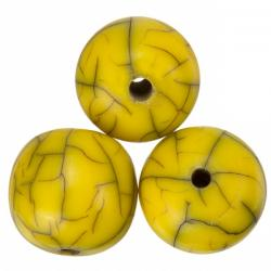 Crackle Design Yellow Round Resin Beads 17mm (PK3)