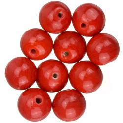 Shiny Opaque Round Red Glass Beads 12mm (PK10)