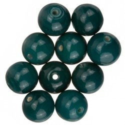 Shiny Dark Green Round Glass Beads 12mm (PK10)