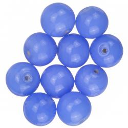 Shiny Opaque Blue Round Glass Beads 12mm (PK10)