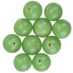 Shiny Opaque Light Green Round Glass Beads 12mm (PK10)