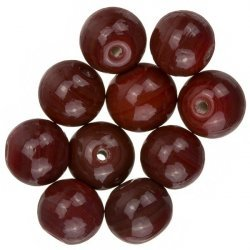 Shiny Opaque Dark Red Round Glass Beads 12mm (PK10)
