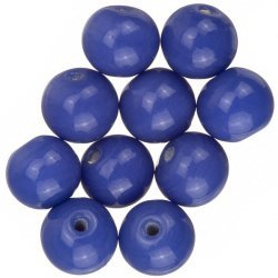 Shiny Opaque Dark Blue Round Glass Beads 12mm (PK10)