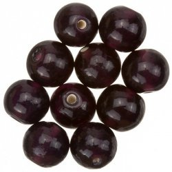 Transparent Dark Purple Round Glass Beads 12mm (PK10)