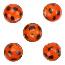 Spotty Orange Round Glass Beads 13mm PK5