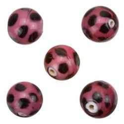 Spotty Purple Round Glass Beads 13mm Pack of 5