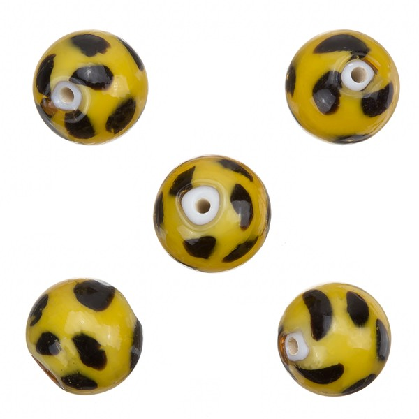 Spotty Yellow Round Glass Beads 13mm PK5