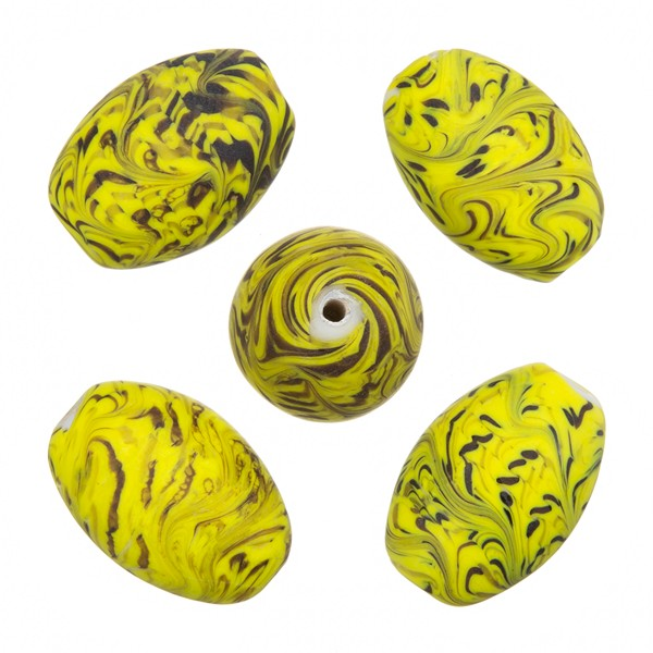 Sea Wave Design Yellow Oval Glass Beads 18x13mm PK5