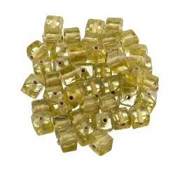 6x6mm Small Transparent Yellow Glass Cube Beads (PK50)