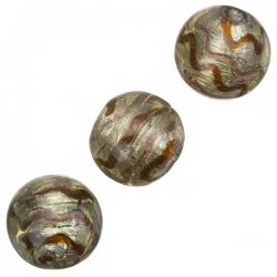 Silver Lined Round Glass Bead Brown Wavy Design 17mm PK3