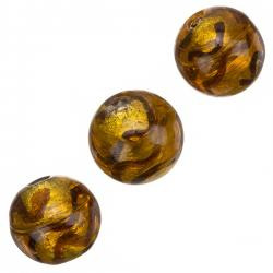 Silver Lined Round Glass Beads Gold Wavy Design 17mm PK3
