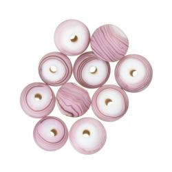 Matte Purple Striped Round Glass Beads (8mm) - PK10
