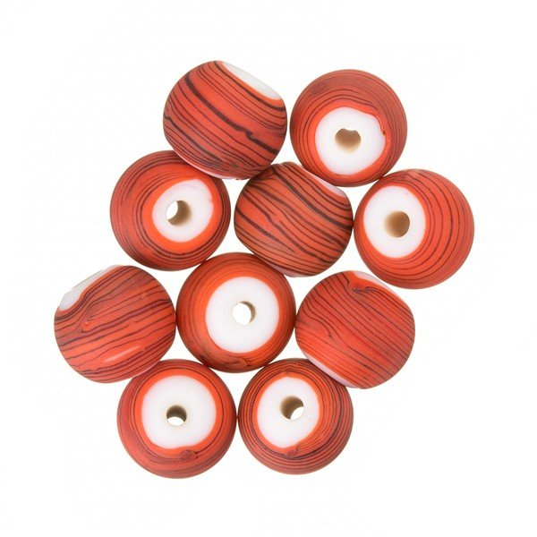 Matte Red Striped Round Glass Bead (8mm) - PK10