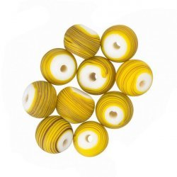 Matte Yellow Striped Round Glass Bead (8mm) - PK10