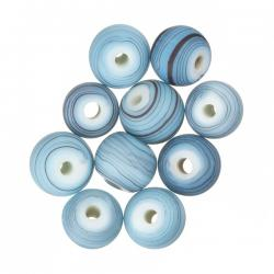 Matte Blue Striped Round Glass Bead (8mm) - PK10
