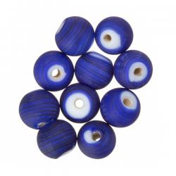 Matte Dark Blue Striped Round Glass Beads 8mm (PK10)