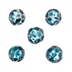 Hand Painted Teal Spotted 14mm Faceted Glass Beads PK5
