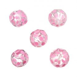 Hand Painted Pink Dotted 14mm Faceted Glass Beads PK5