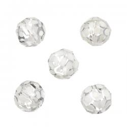 White Hand Painted 14mm Faceted Clear Glass Beads PK5