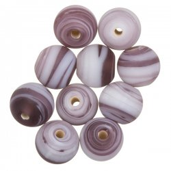 Zebra Stripe Purple Round Glass Beads 10mm PK10