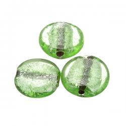 Silver Lined Green Flat Round Glass Beads 25mm PK3