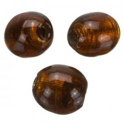 Silver Lined Brown Potato Shaped Glass Beads 18x16mm PK3