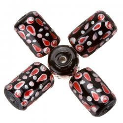 Hand Painted Black/Red Tubular Glass Beads (9x14mm) PK5