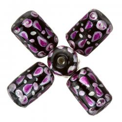 Hand Painted Black/Pink Tube Glass Beads (9x14mm) - PK5