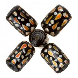 Hand Painted Black/Orange Tube Glass Beads 9x14mm - PK5