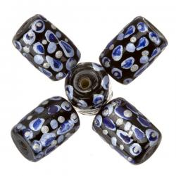 Hand Painted Black/Blue Tube Glass Beads (9x14mm) - PK5