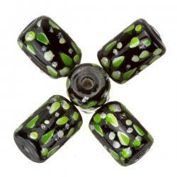 Hand Painted Black/Lime Green Tube Glass Beads (9x14mm)