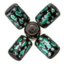 Hand Painted Black/Green Tube Glass Beads (9x14mm) PK5