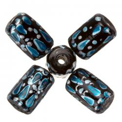 Hand Painted Black/Turquoise Tube Glass Beads 9x14mm PK5