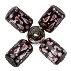 Hand Painted Black/Maroon Tube Glass Beads 9x14mm - PK5