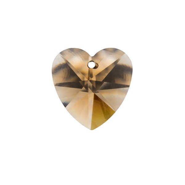 Crystal Faceted AAA Smoky Quartz Heart Pendant 14x7mm