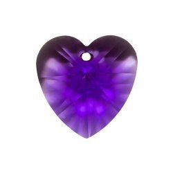 Crystal Faceted AAA Quality Violet Heart Pendant 18x9mm