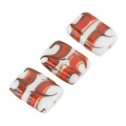 White Rectangle Glass Beads Red/Gold Pattern 18x15mm PK3