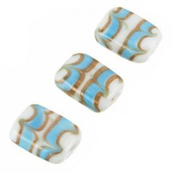 White Rectangle Glass Beads Turquoise/Gold Pattern 18mm