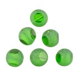Frosted Trans. Sliced Green Round Glass Beads 12mm PK6