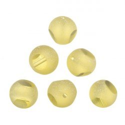 Frosted Trans. Sliced Yellow Round Glass Beads 12mm PK6