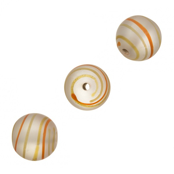 Frosted Orange Swirly Round Glass Bead 14mm PK3