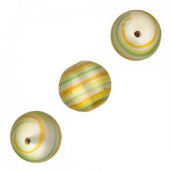 Frosted Green Swirly Round Glass Beads 14mm PK3
