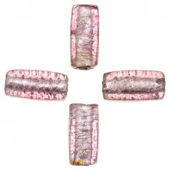 Silver Lined Pink Rectangle Cube Glass Beads 18x8mm PK4
