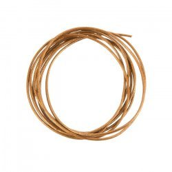 Round 1mm Leather Cord Shiny Copper Finish - 1m Length