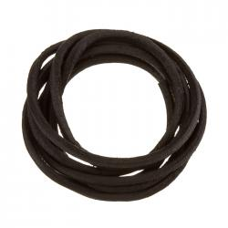 Round Leather Cord Rough Finish Black 2.5mm - 1m Length