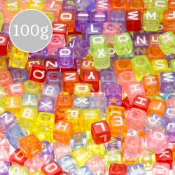 Alphabet Letter Mixed Cube Coloured Acrylic Beads 100g