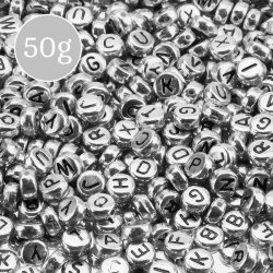 Alphabet Letter Mixed Round Acrylic Silver Beads 50g